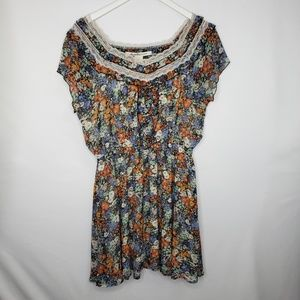 American Rag Blue Orange Floral Peasant Dress
